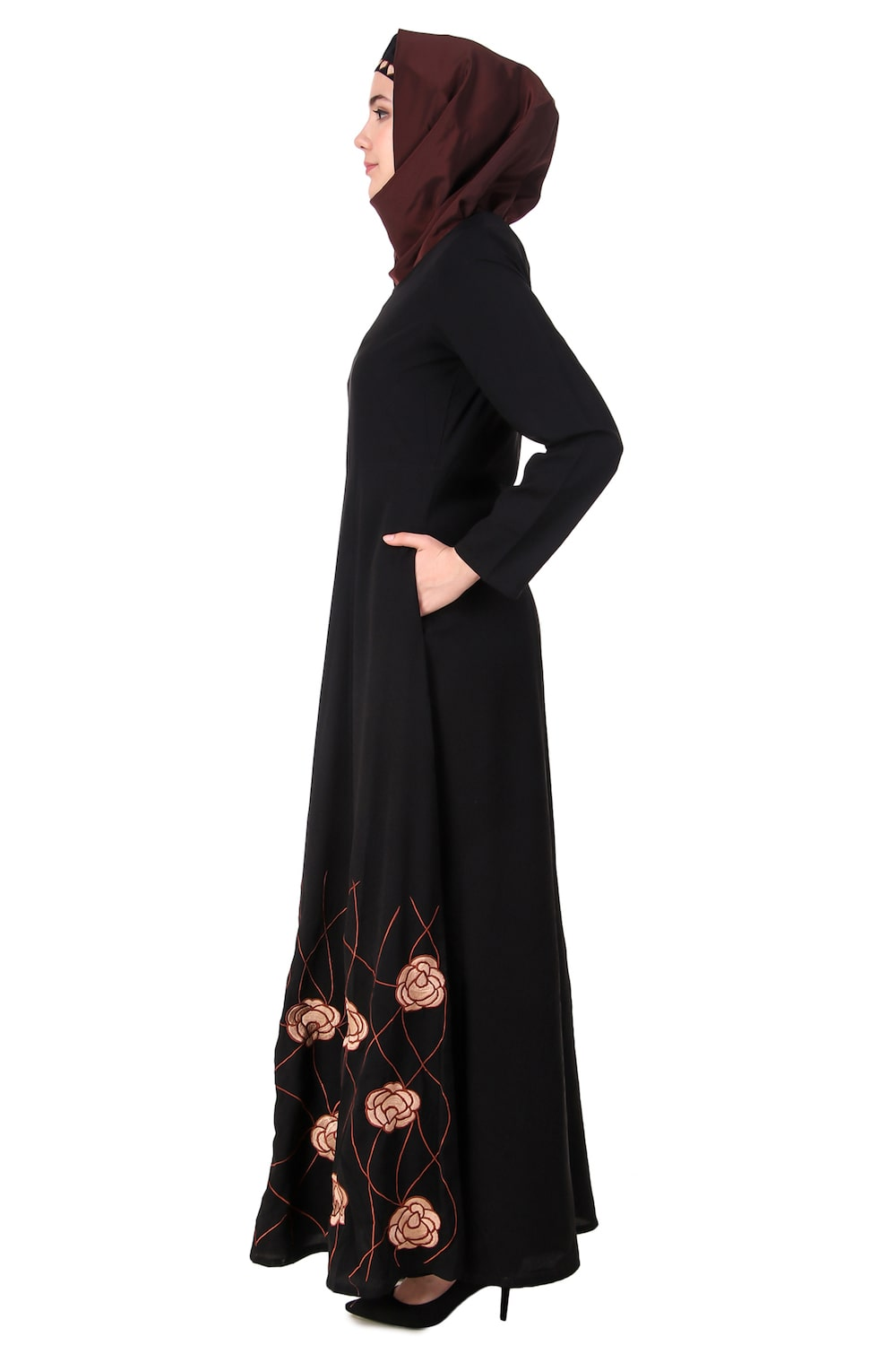 Heavy Floral Embroidered Bottom Anarkali Abaya
