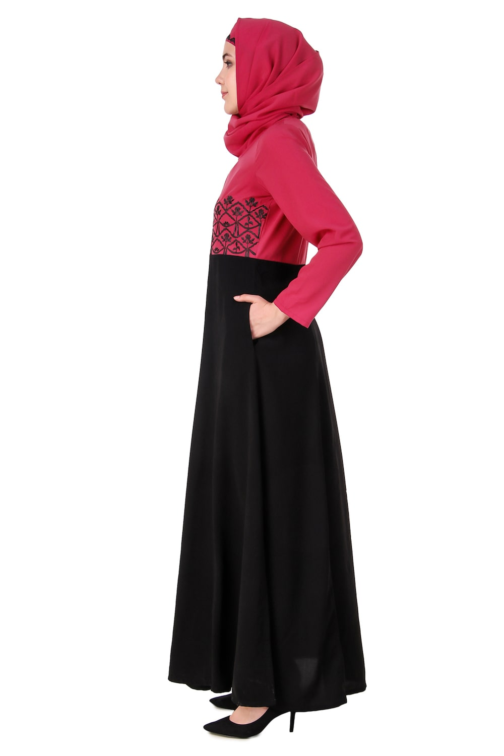 Floral Embroidered Dual Colour Anarkali Abaya