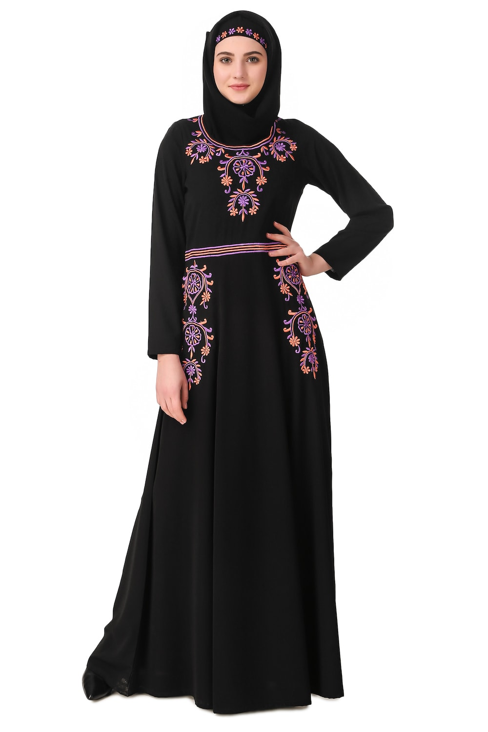 Intricate Floral Hand Embroidered Anarkali Abaya