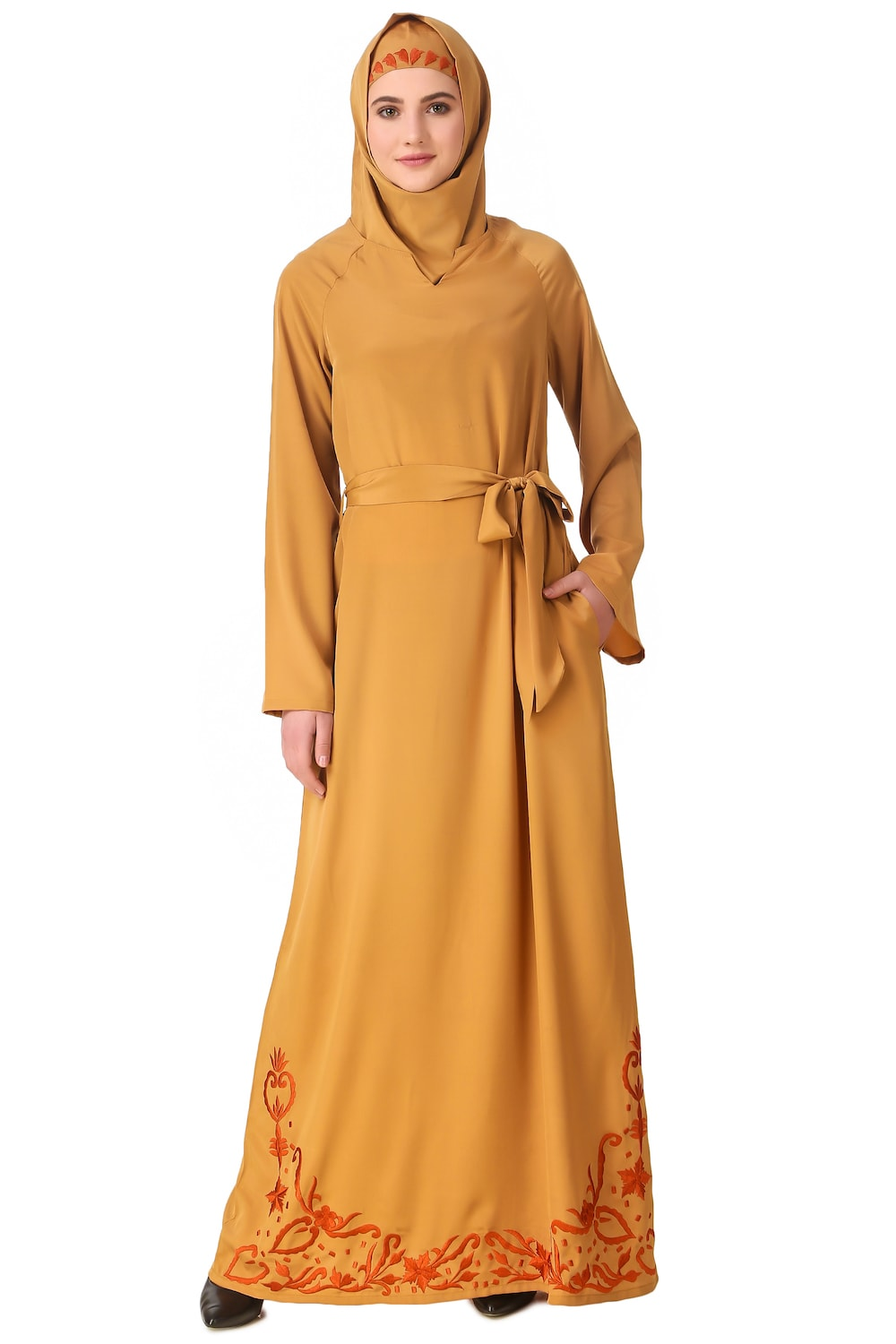 Raglan Sleeves Floral Embroidered Bottom Abaya with Waist Belt