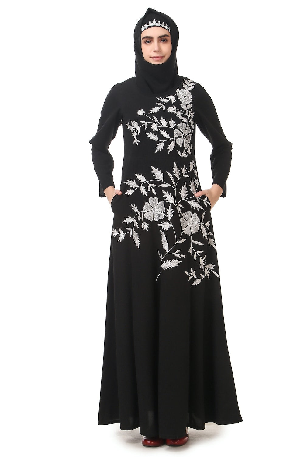 Contrast Embroidery Heavily Flared Abaya Front