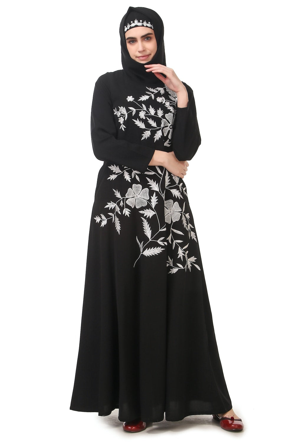 Contrast Embroidery Heavily Flared Abaya
