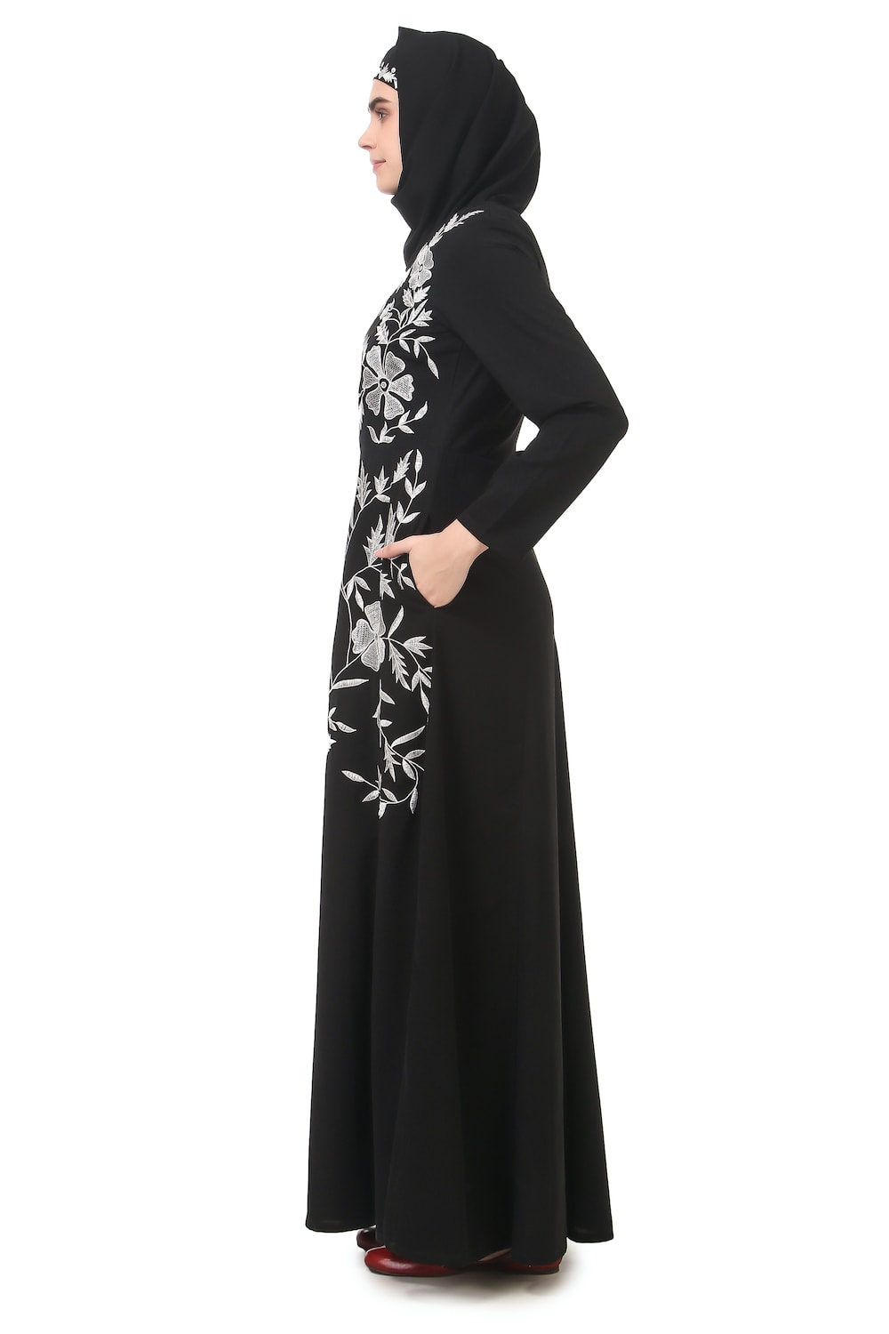 Contrast Embroidery Heavily Flared Abaya Side