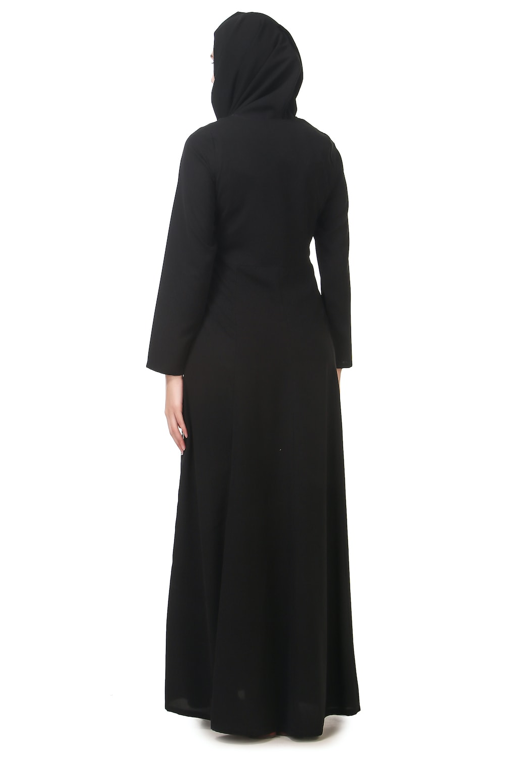 Contrast Embroidery Heavily Flared Abaya Back