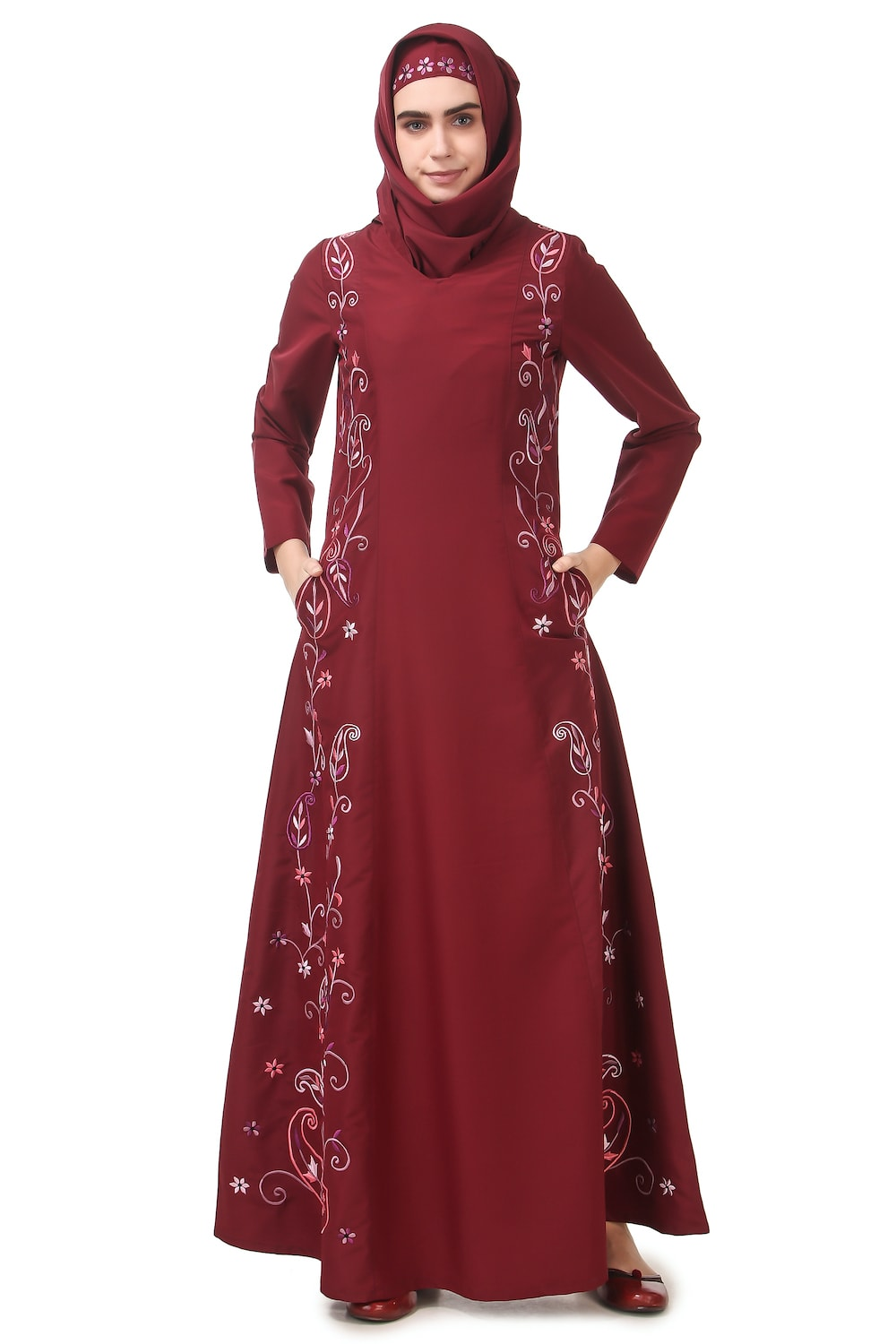 Fully Embroidered Side Panels Princess Seam Abaya