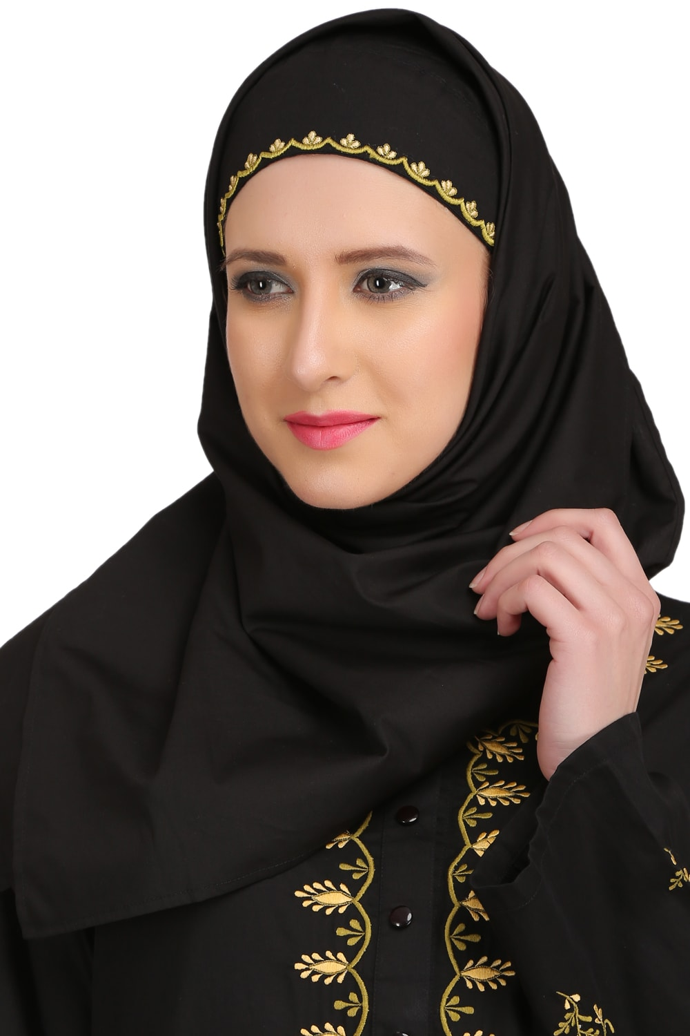 Ablah Black Cotton Hijab With Embroidered Band
