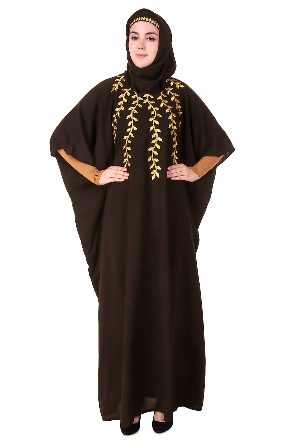 Multi Leaf Stems Gold Embroidered Kaftan