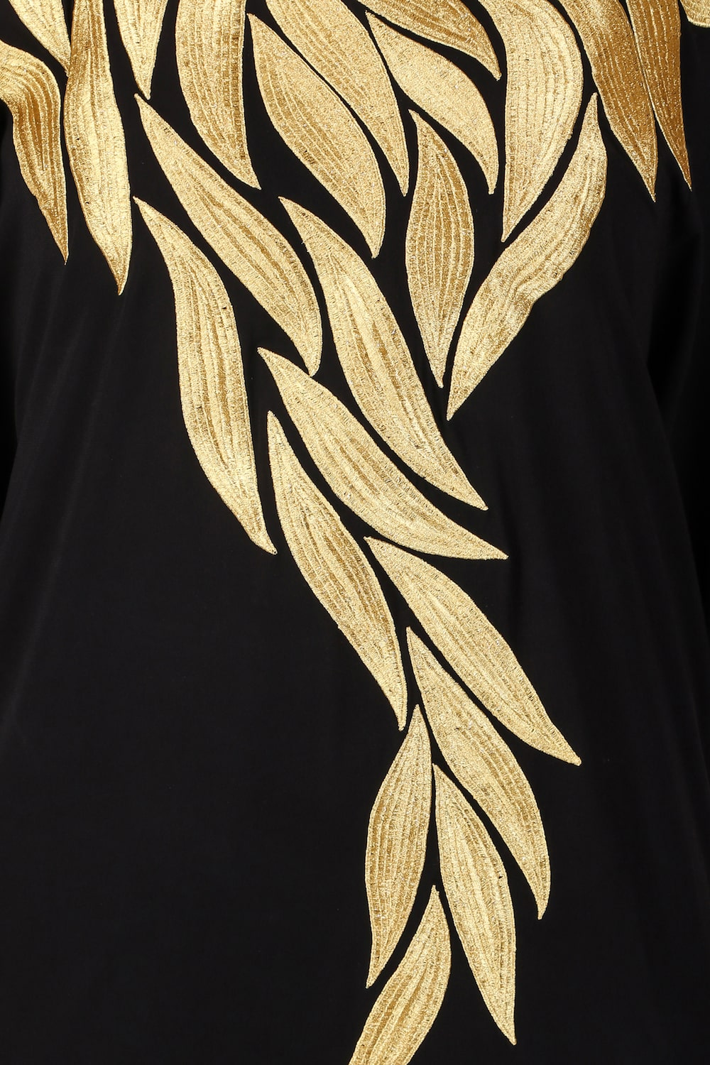 Hand Gold Embroidered Multi Leaf Design Kaftan