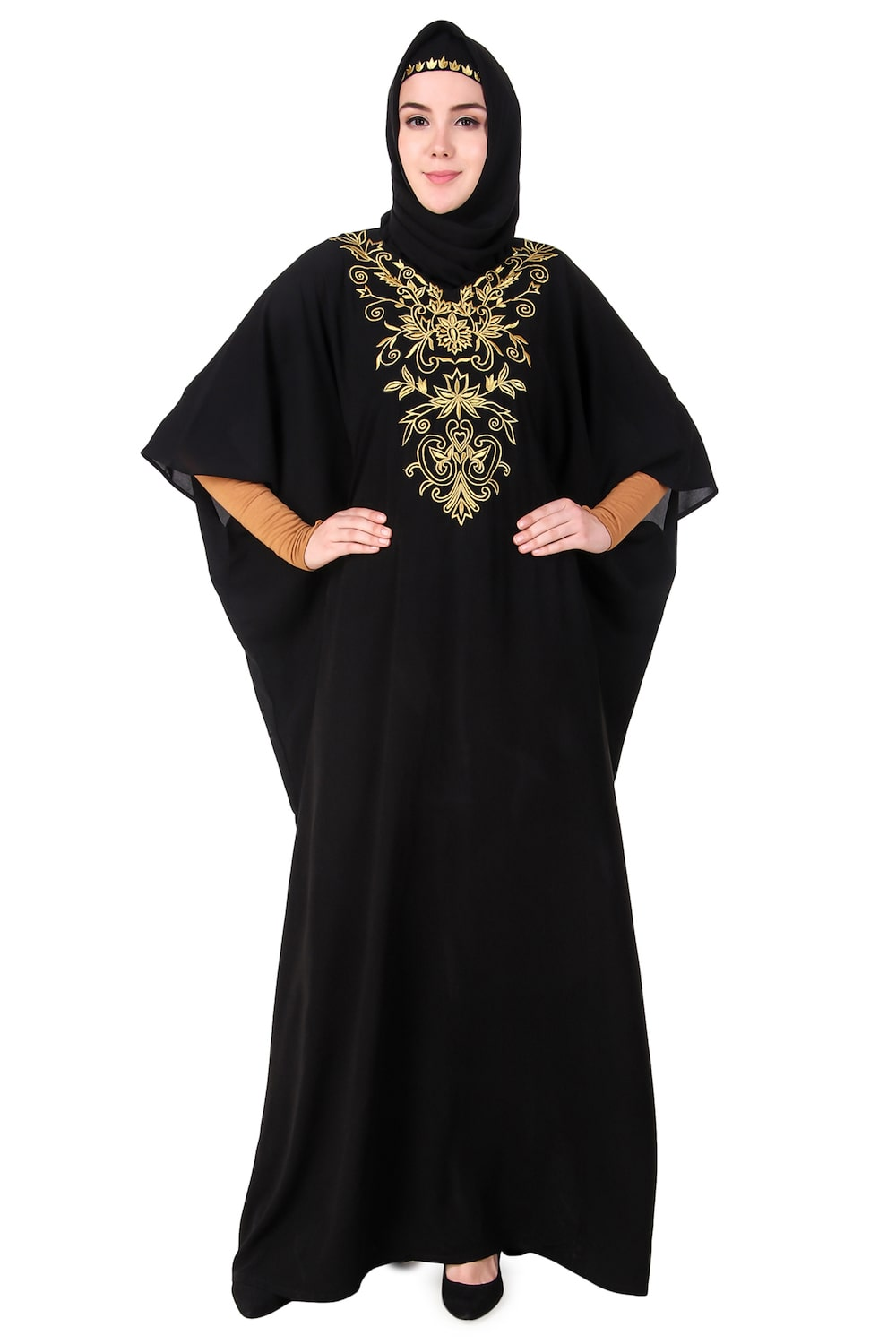 Embroidered Floral Gold Festive Kaftan