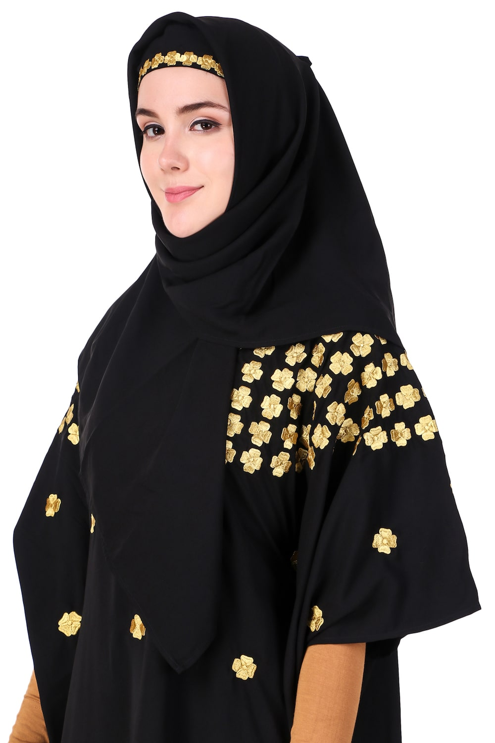 Multi Flower Motif Gold Embroidered Fancy Kaftan