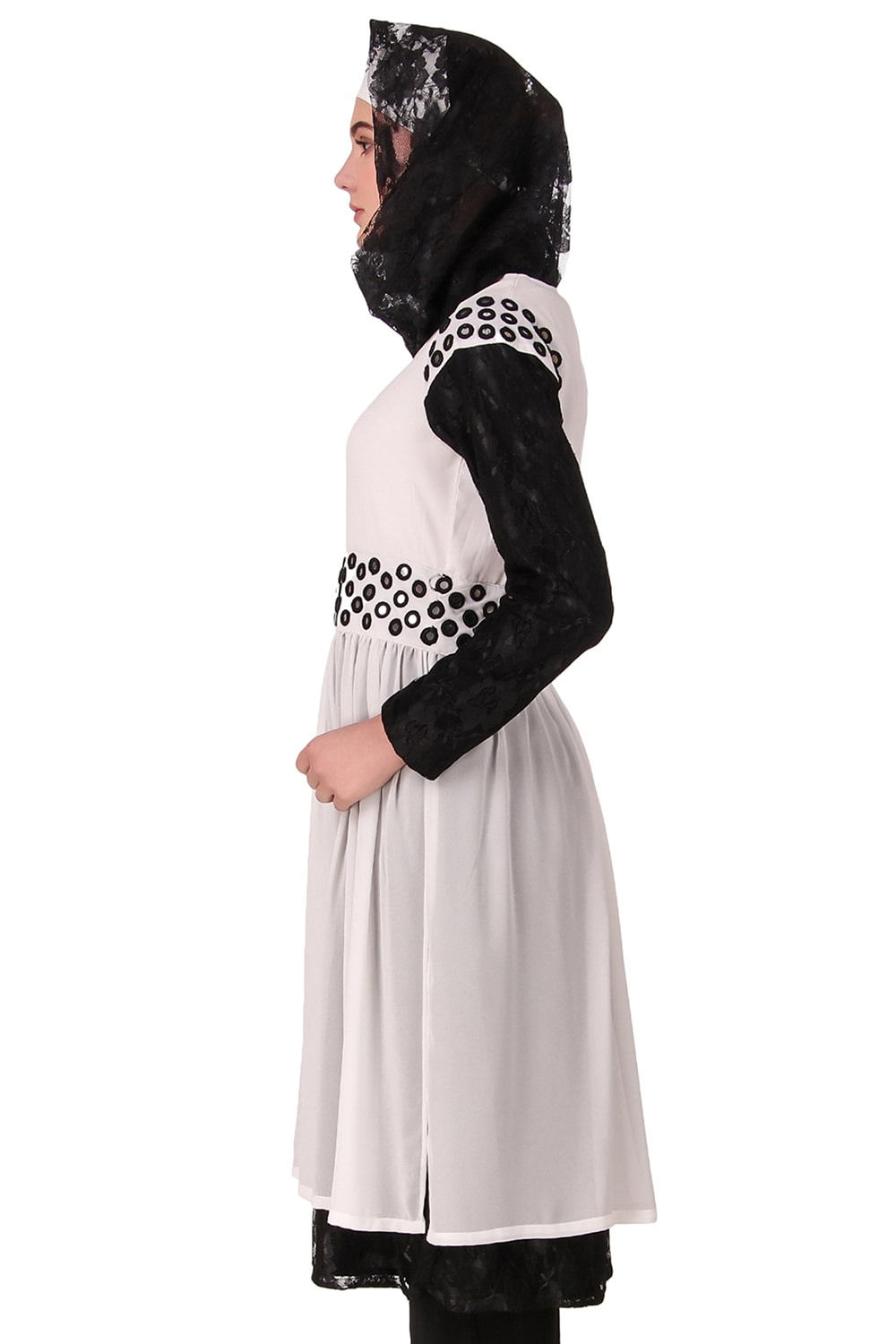 Taybah Fancy White and Black Flower Net and Nida Tunic