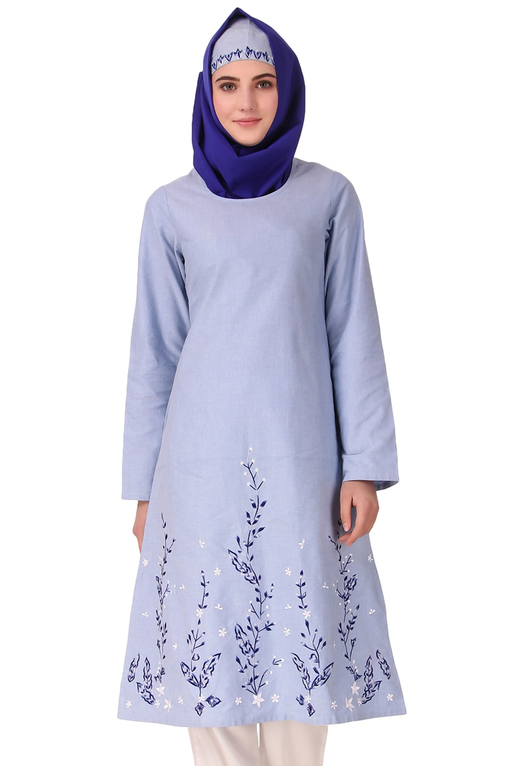 Blue Cotton Embroidered Tunic
