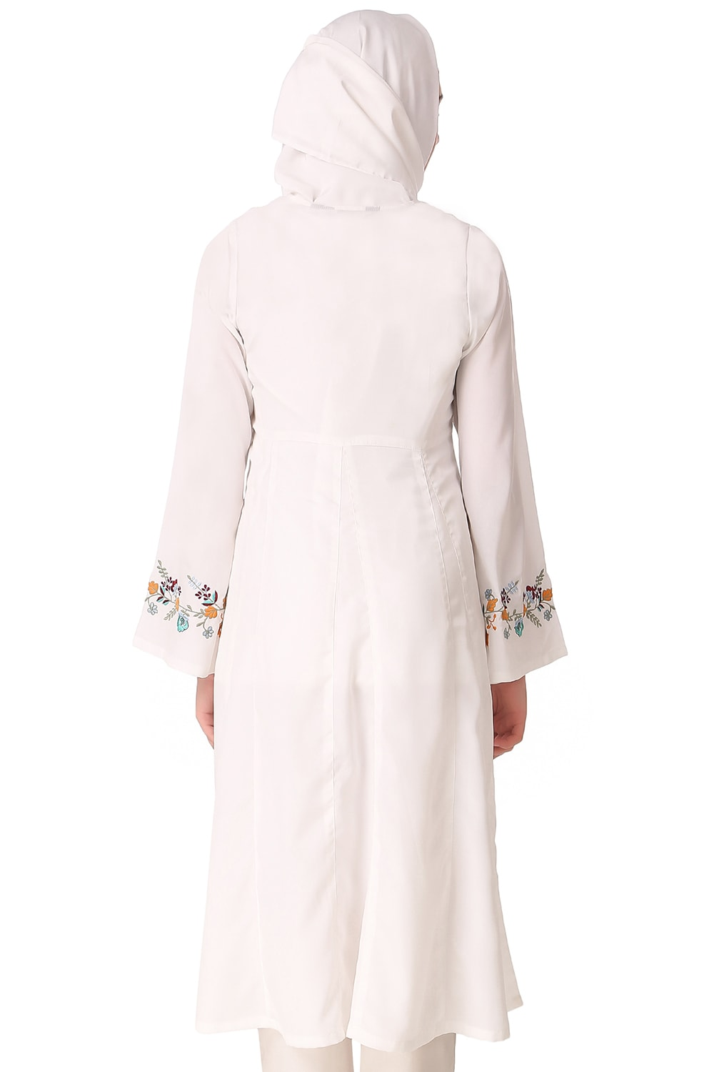 Colorful Embroidered Bell Sleeve White Tunic