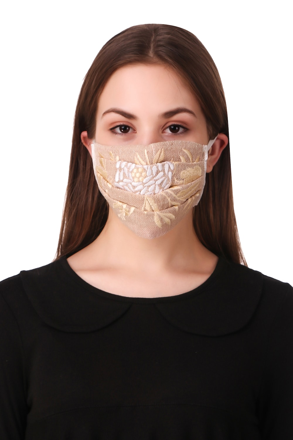 Floral Embroidered Jute Pleated Face Mask