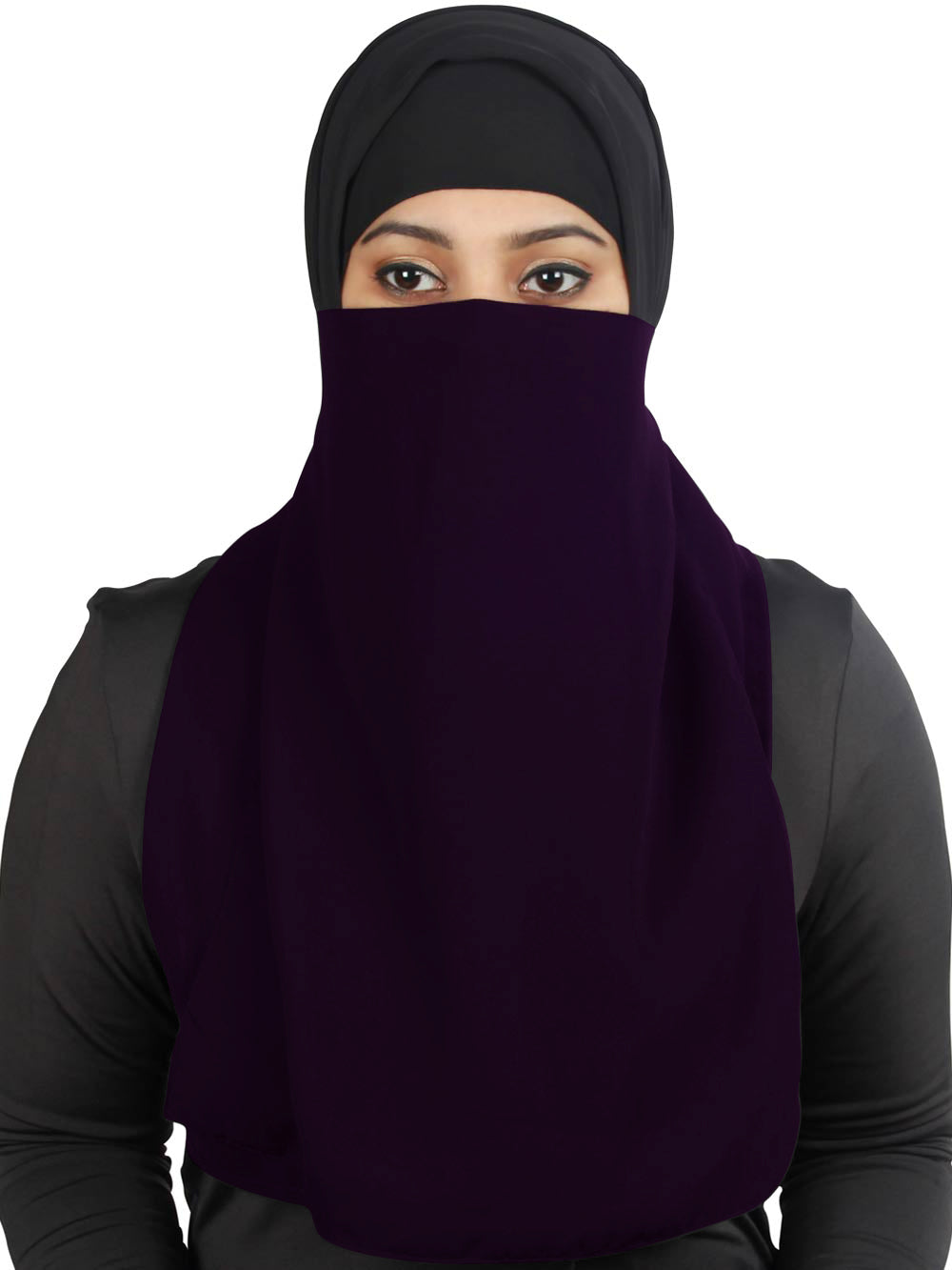 Half Niqab-Nosepiece In Black Georgette