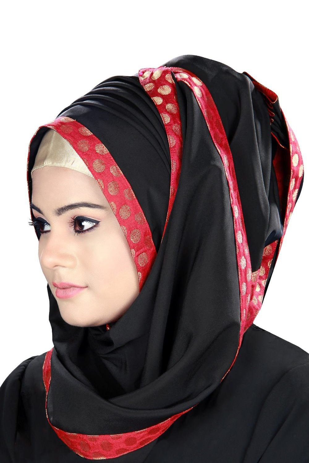 Aamilah Black Embellished Hijab With Gold Band