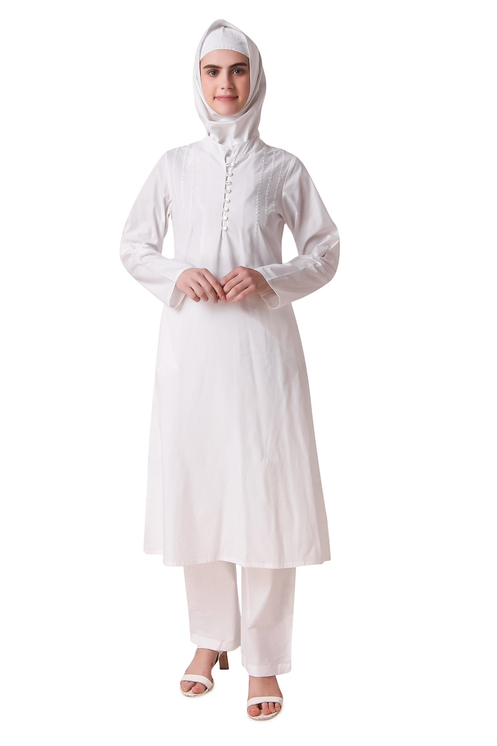 Hajna White Cotton Salwar Kameez