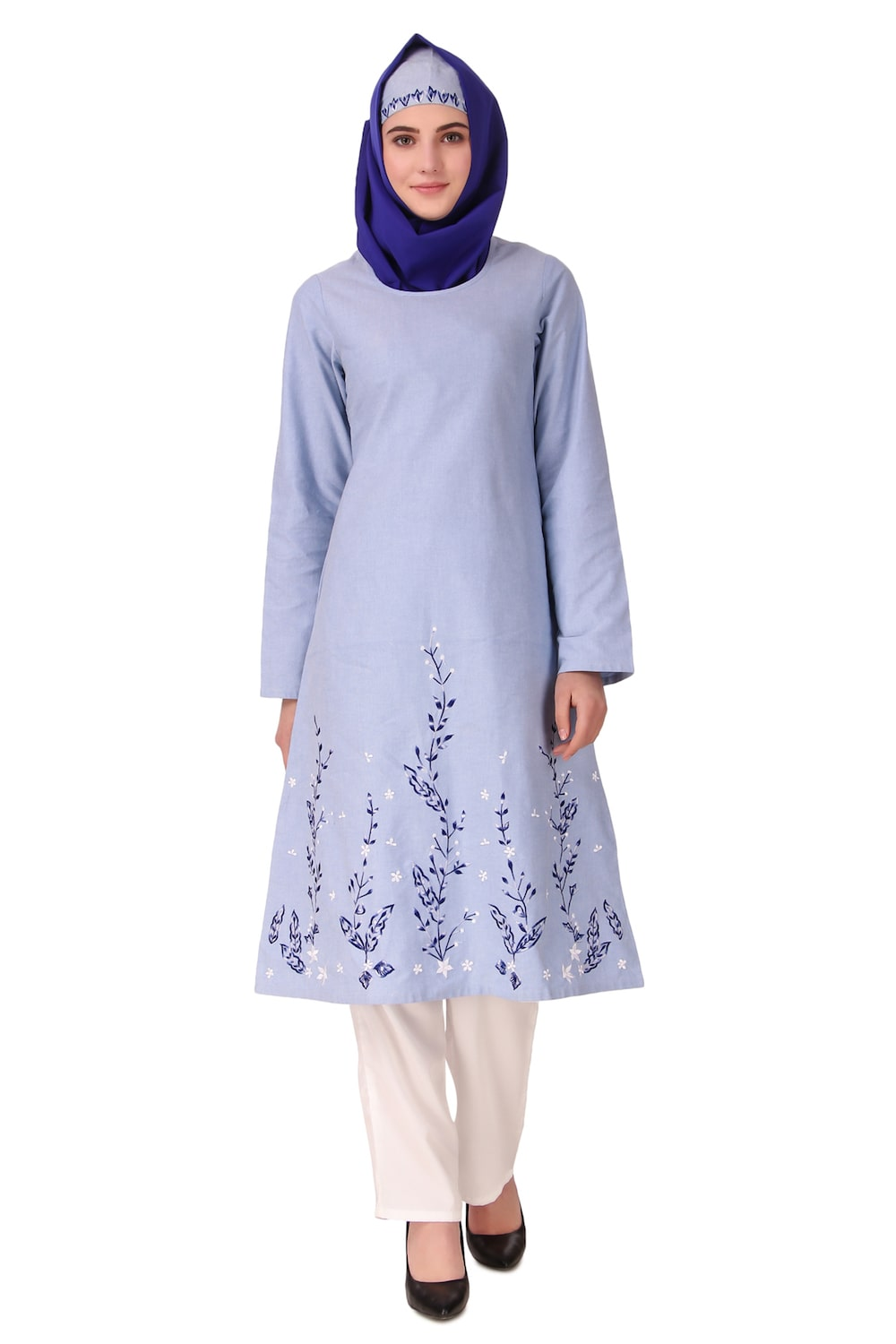 Blue Cotton Embroidered Salwar Kameez