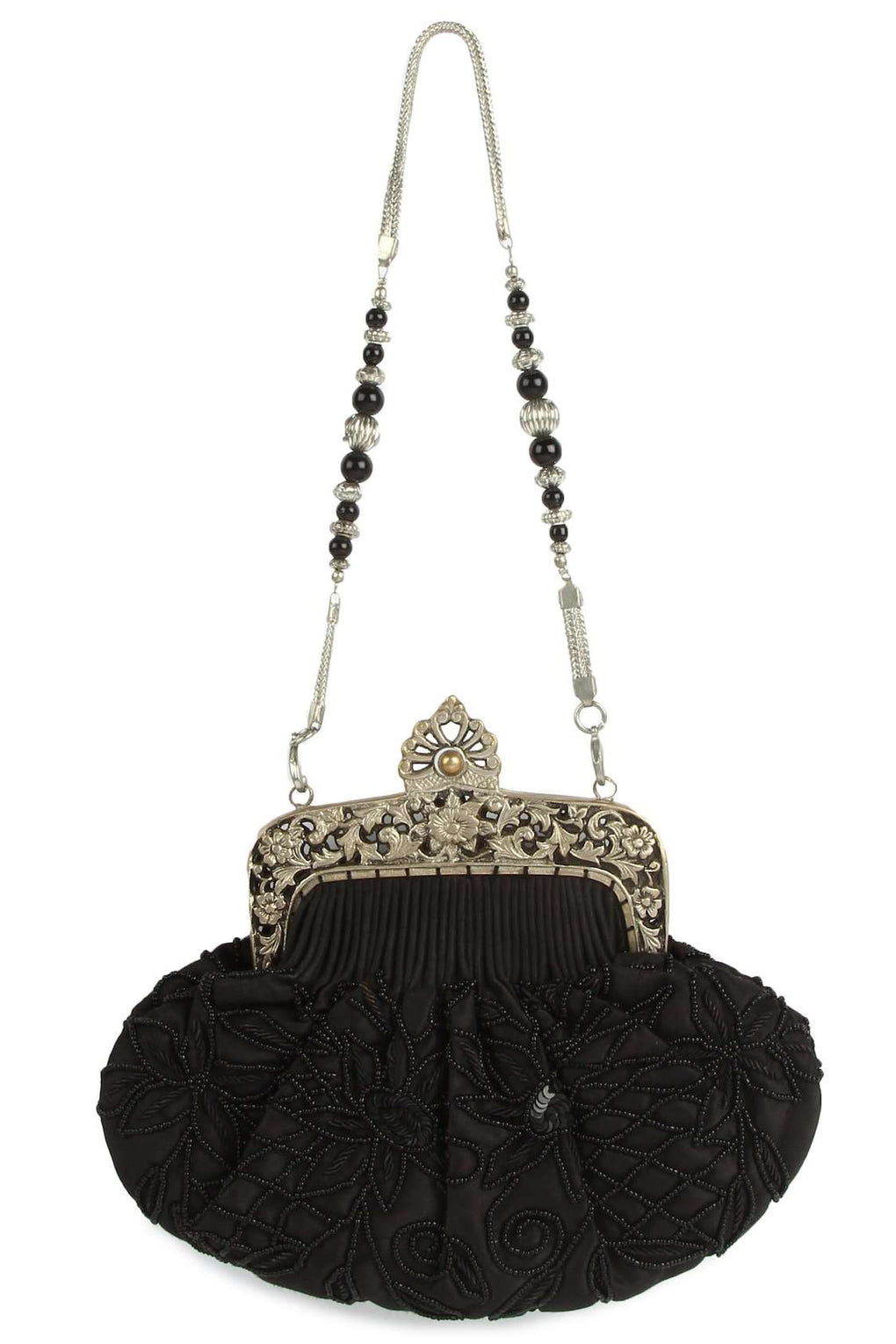 Ruby Black Beaded Brass Frame Bag