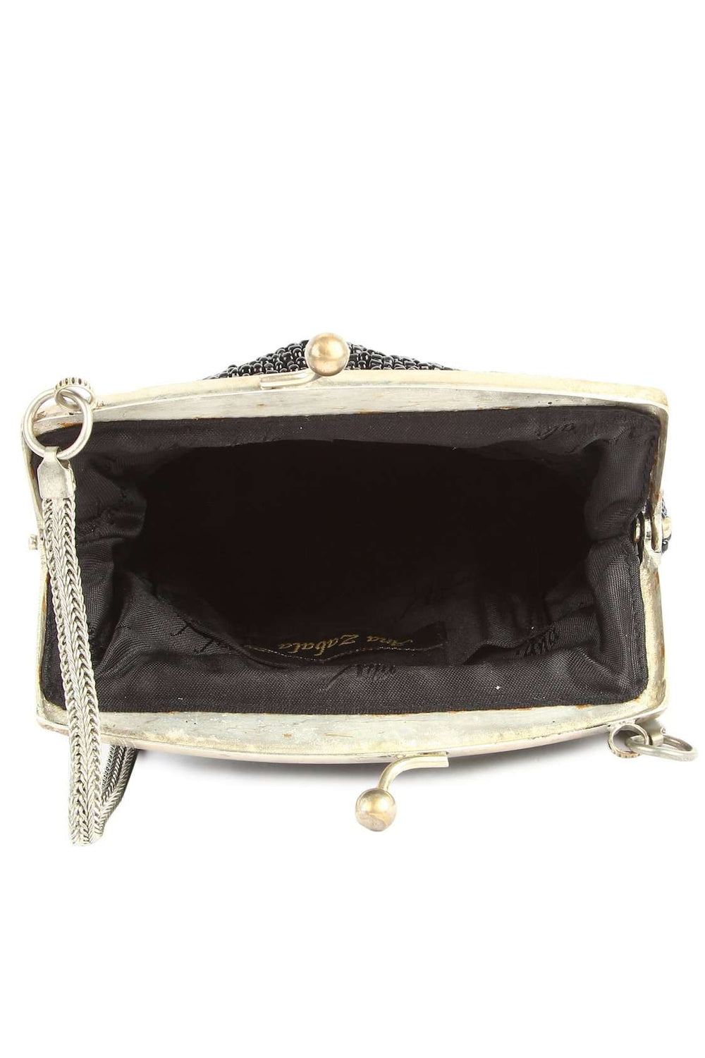 Bella Black Whole Beaded Brass Frame Bridal Handbag
