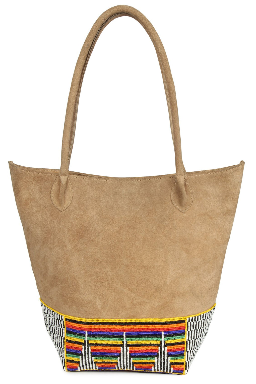 Aaliyah Beige Suede Leather Hand Embroidered Bag