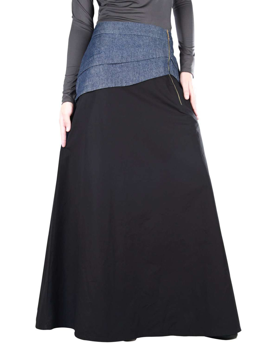Aziz Black Cotton Denim Skirt