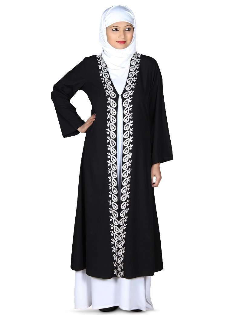 Two color Abaya with elegant embroidery