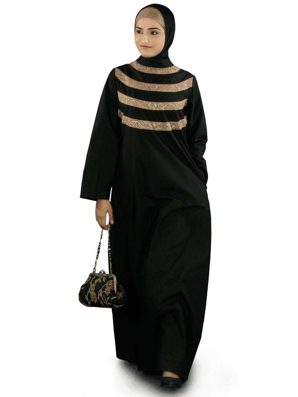 Seemeen Black Cotton Abaya