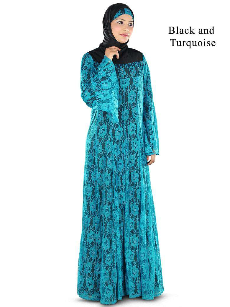 Beautiful Turquoise Blue Flower Net Abaya