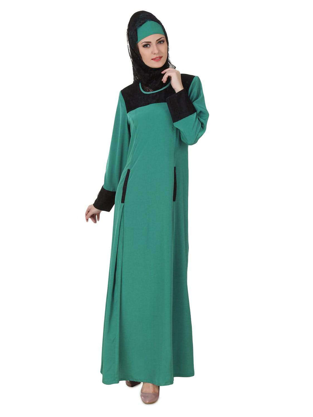 Rihab Crepe Bottle Green Abaya