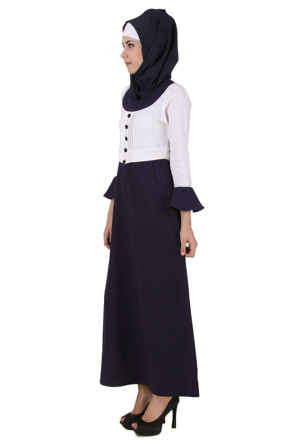 Eiman White & Navy Blue Kashibo Abaya Side