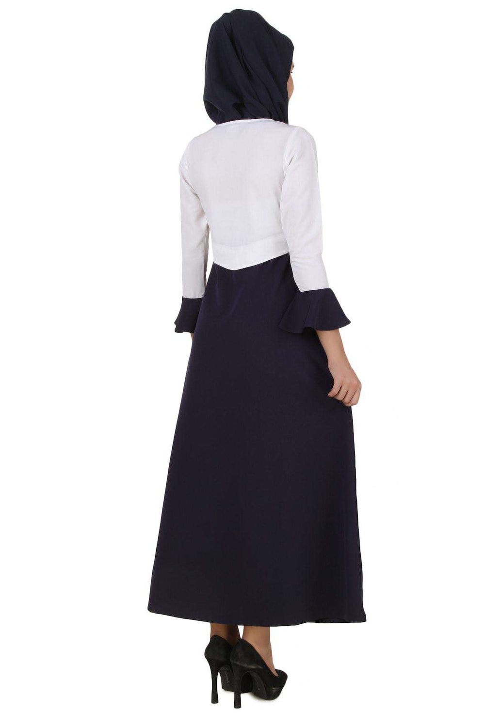 Eiman White & Navy Blue Kashibo Abaya Back