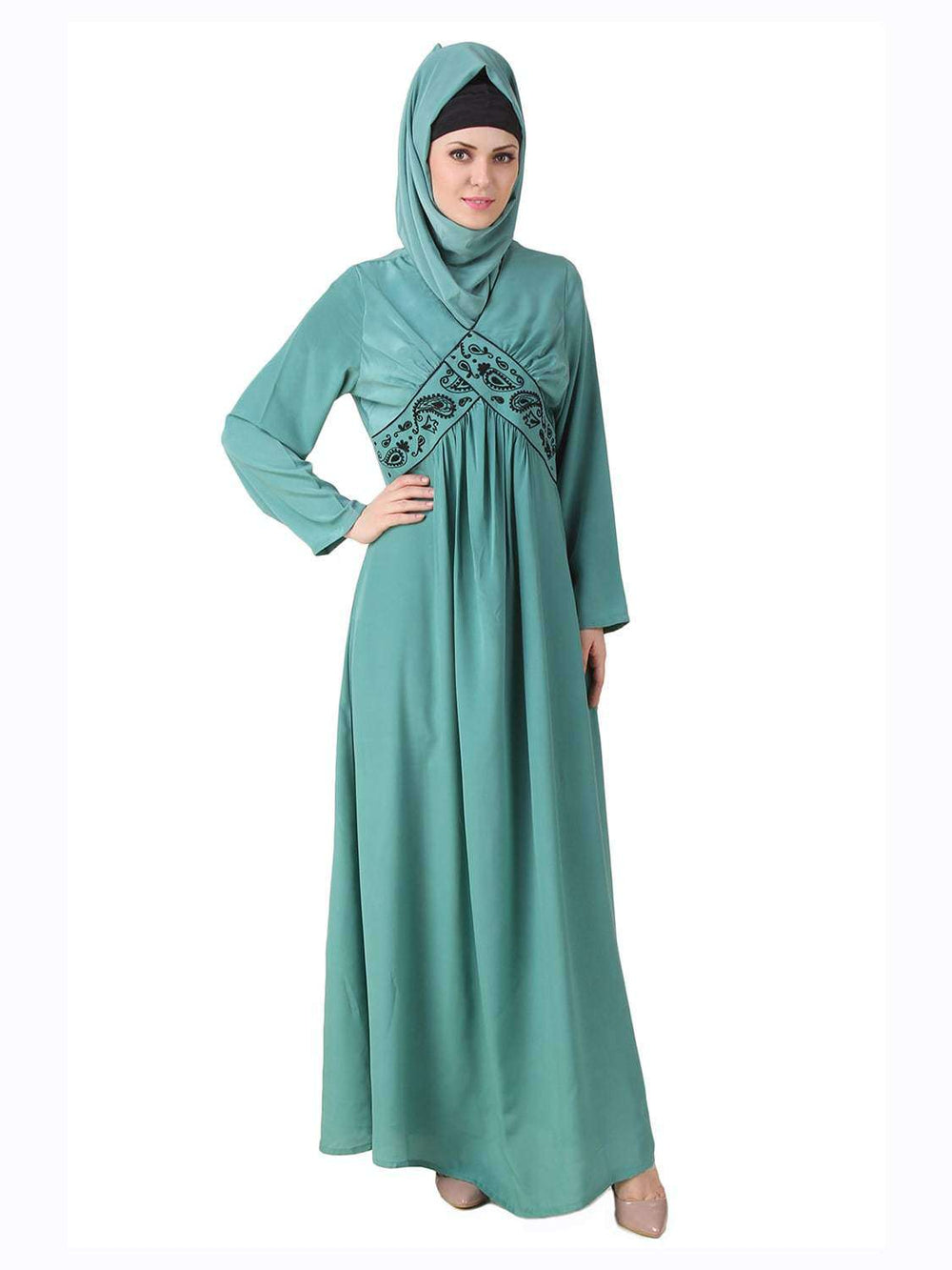 Deeba Maternity Sea Green Crepe Abaya