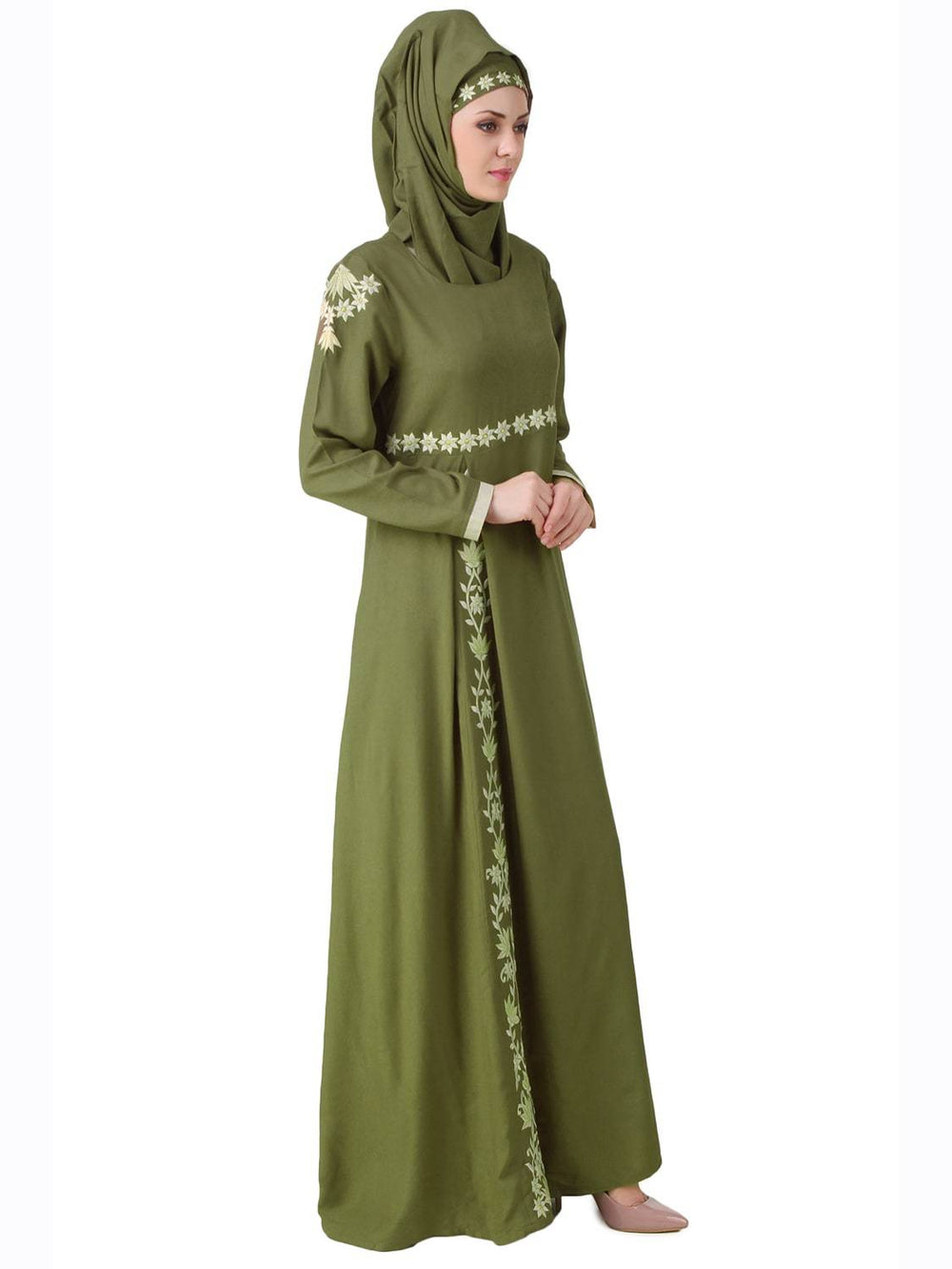 Afsa Green Rayon Abaya Side