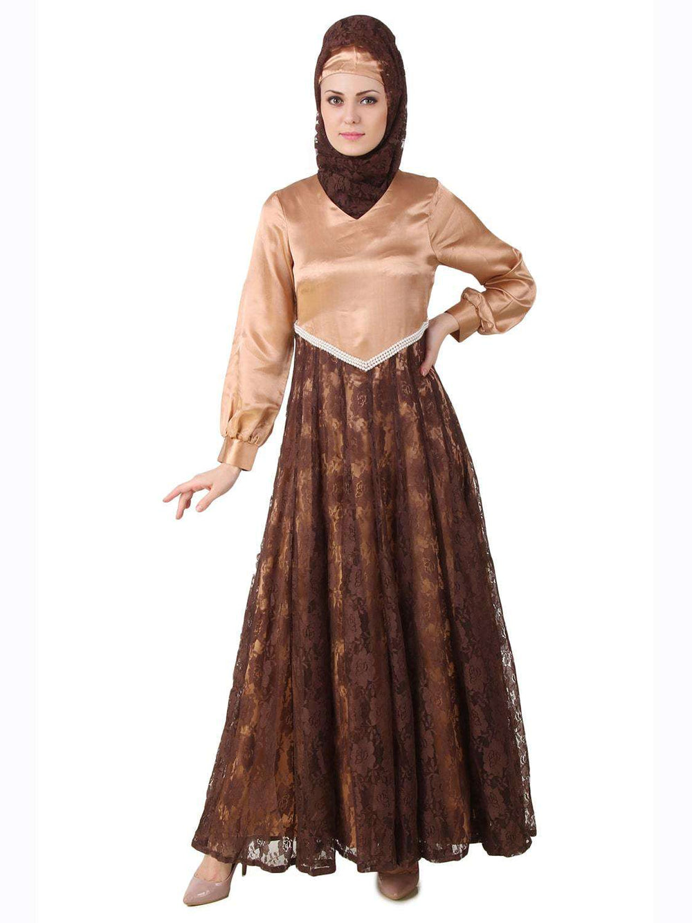 Mahrosh Copper Satin & Brown Flower Net Abaya Front