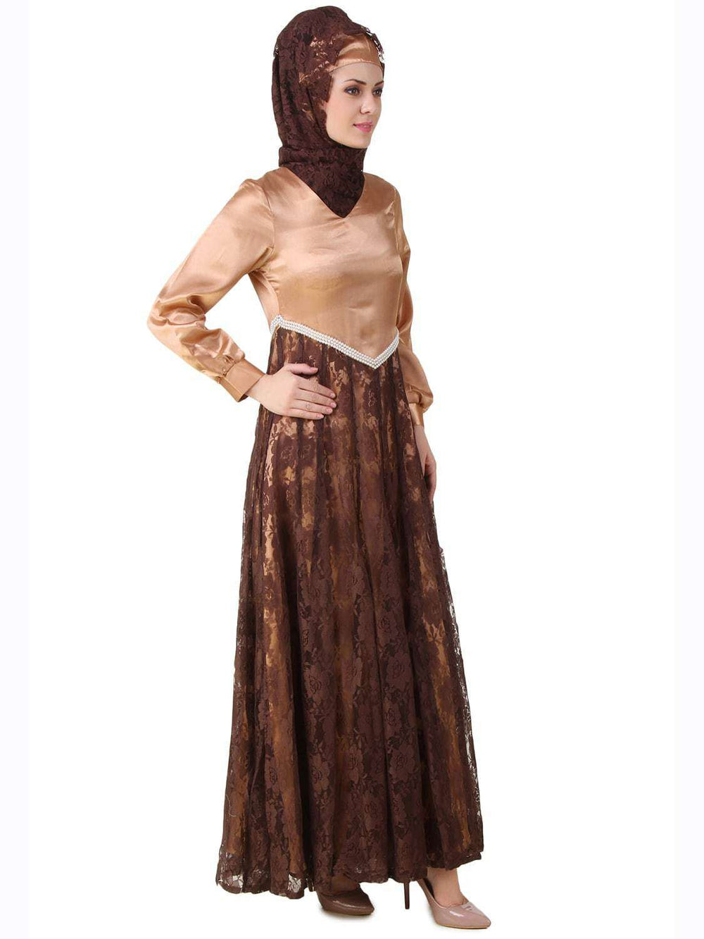 Mahrosh Copper Satin & Brown Flower Net Abaya Side