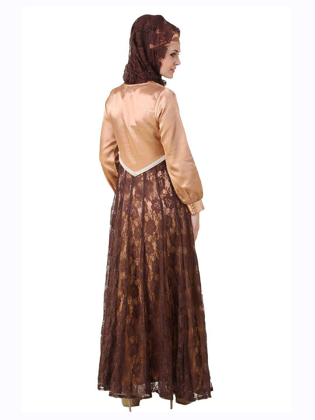Mahrosh Copper Satin & Brown Flower Net Abaya Back