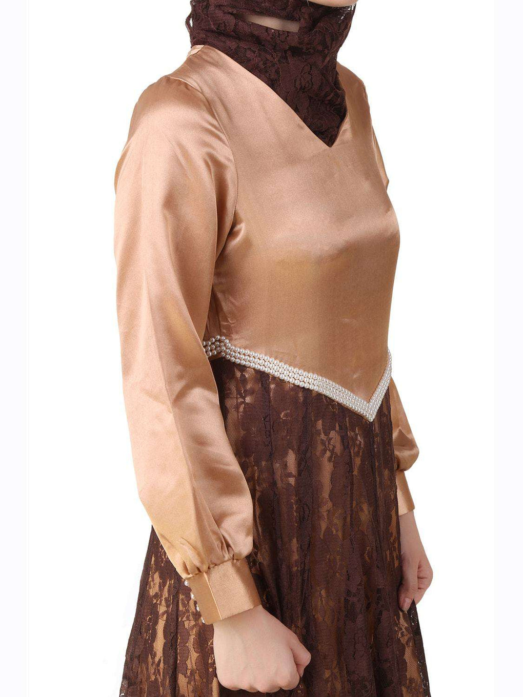 Mahrosh Copper Satin & Brown Flower Net Abaya Design