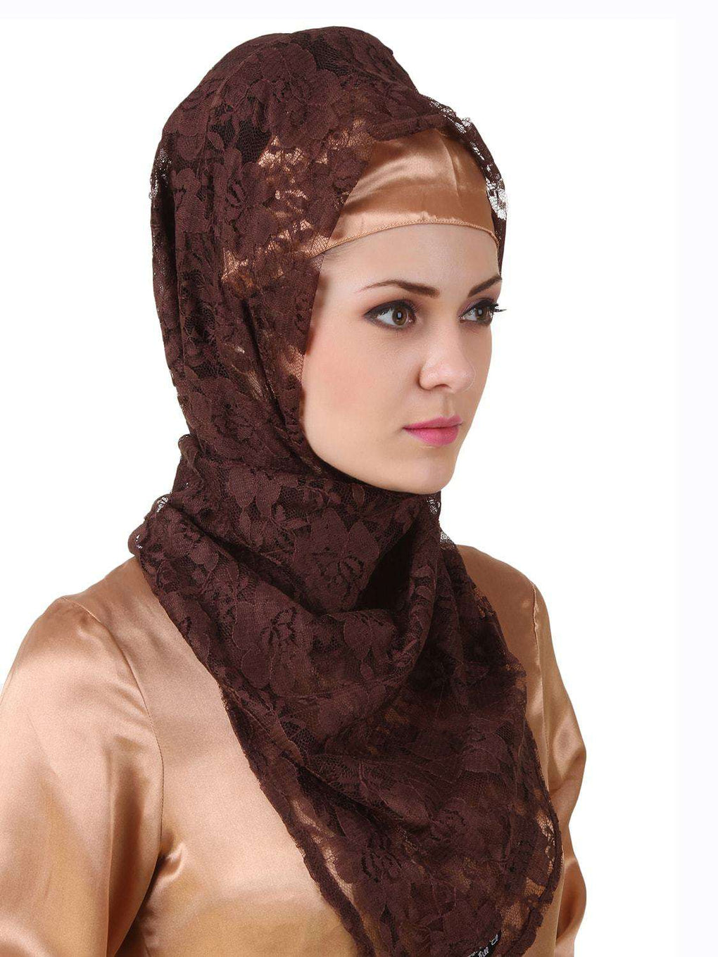 Mahrosh Copper Satin & Brown Flower Net Abaya Hijab