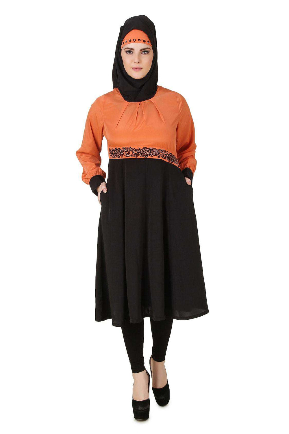 Barika Black & Orange Crepe Short Abaya