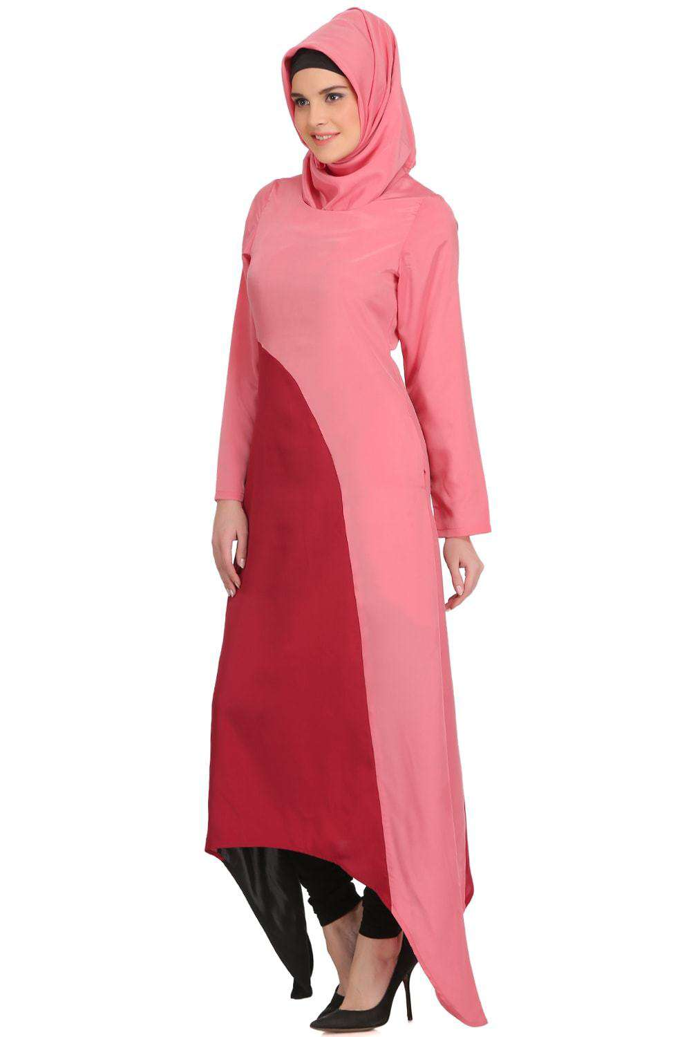 Minal Coral and Rose Pink Crepe Short Abaya