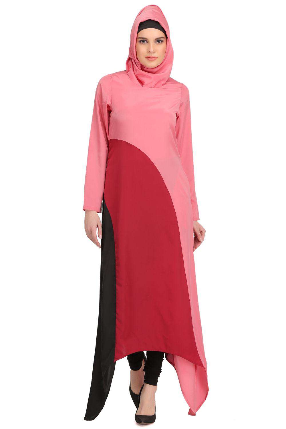 Minal Coral and Rose Pink Crepe Short Abaya Front