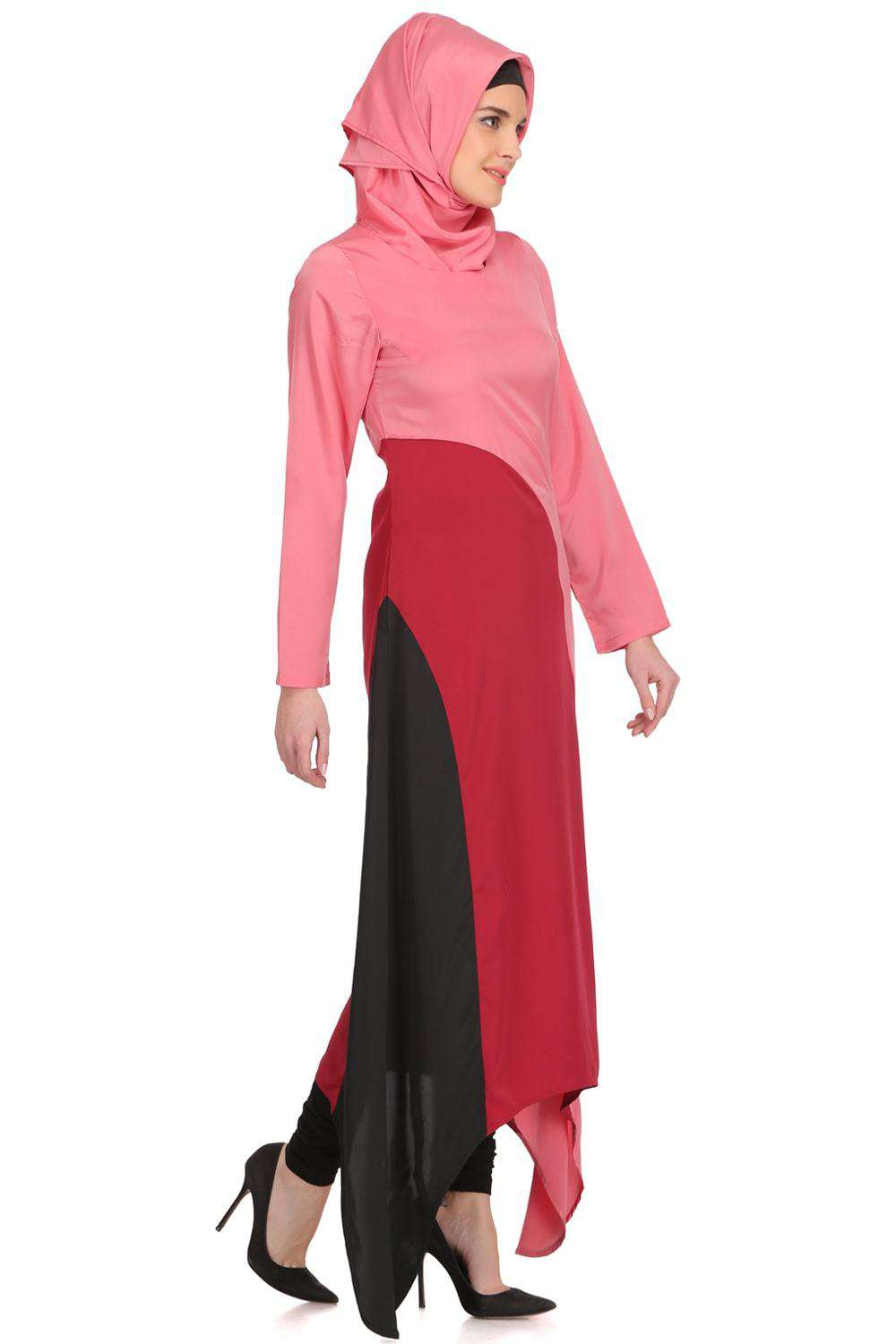 Minal Coral and Rose Pink Crepe Short Abaya Side