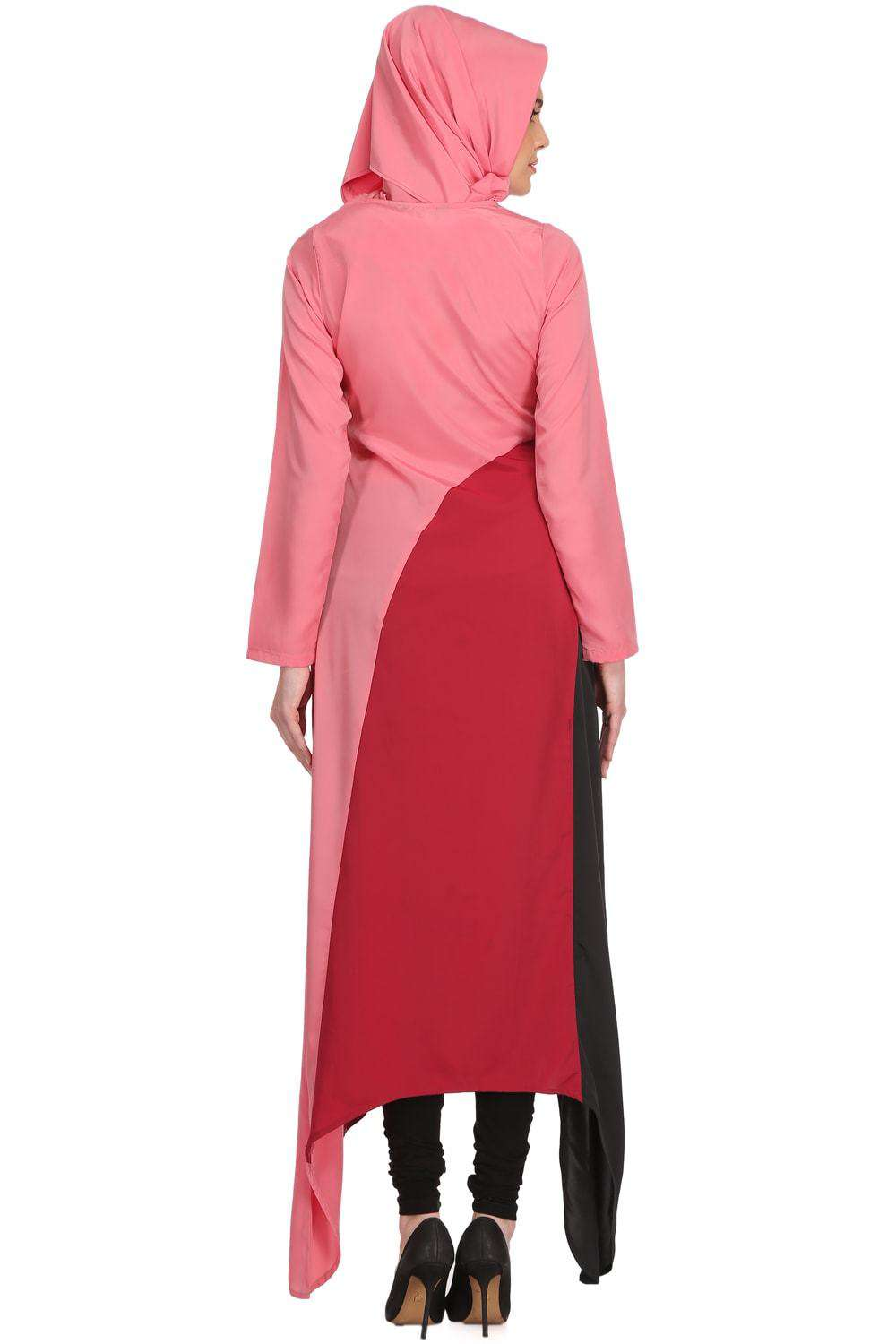 Minal Coral and Rose Pink Crepe Short Abaya Back