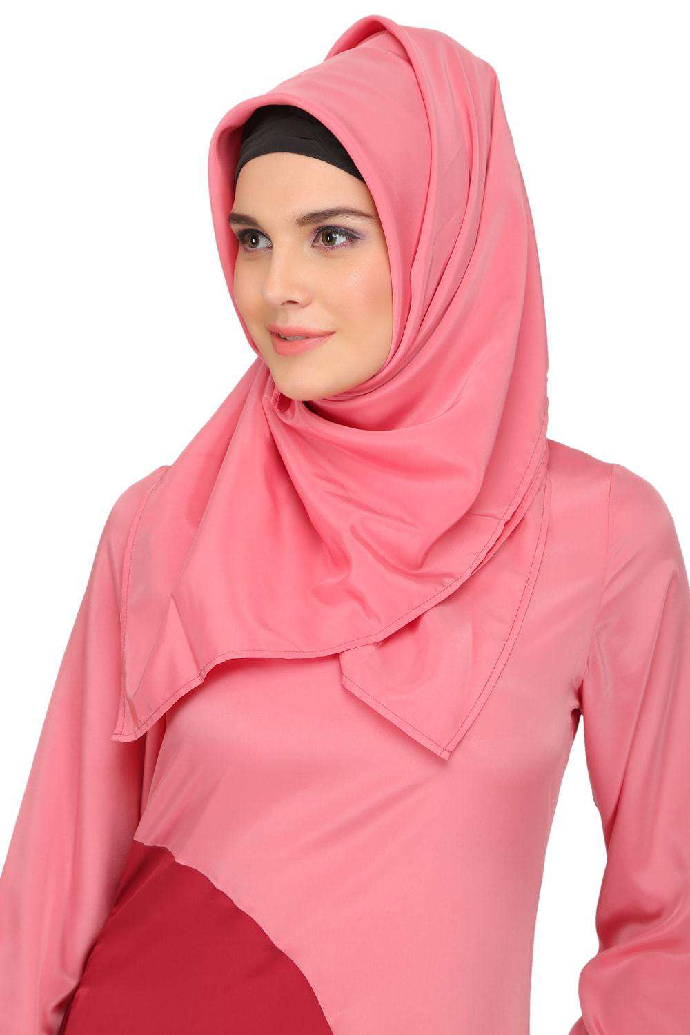 Minal Coral and Rose Pink Crepe Short Abaya Hijab
