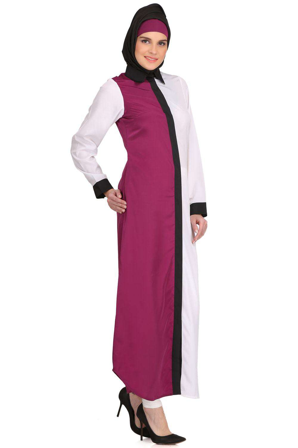 Daliya White & Wine Crepe Short Abaya