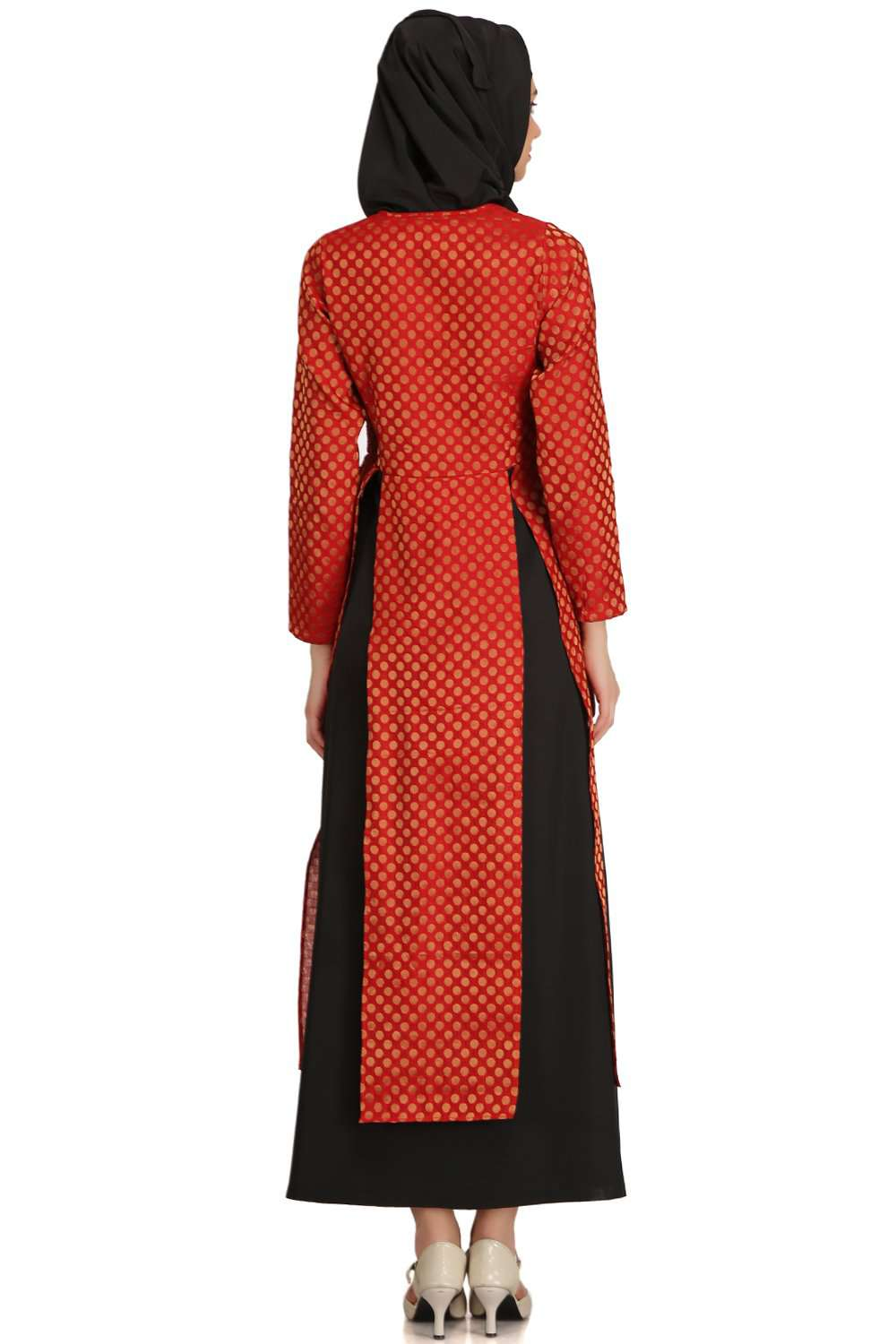 Sameera Red Brocade & Black Nida Abaya