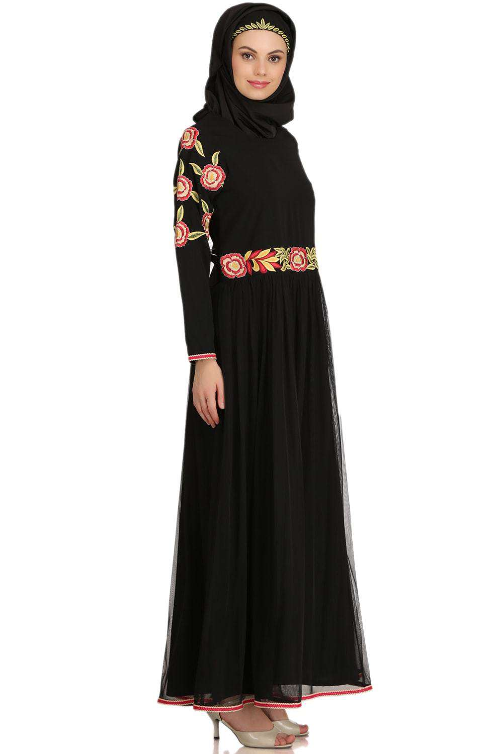 Mumina Black Nida & Net Abaya Side