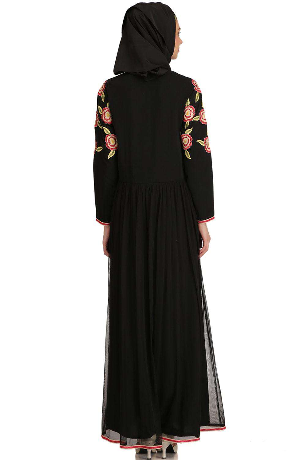 Mumina Black Nida & Net Abaya Back