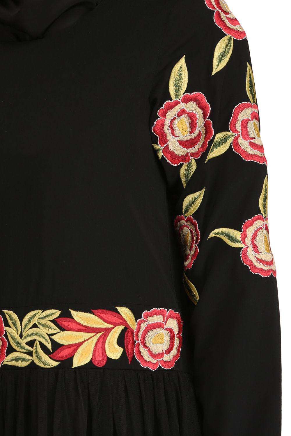Mumina Black Nida & Net Abaya Embroidery